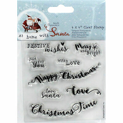Docrafts At Home With Santa Sentiments Clear Stamps • 4.95£