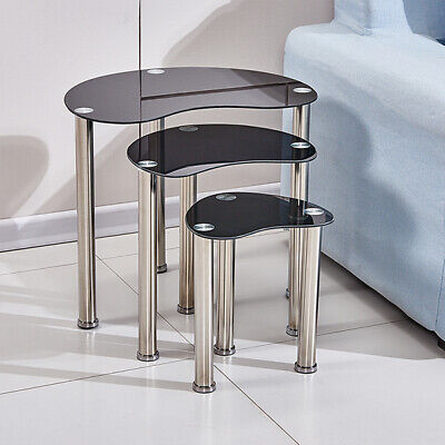 Black Nest Of 3 Tables Glass Set Side End Corner Sofa Table Chrome Legs Modern  • 35.99£