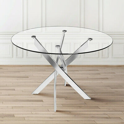 90cm Round Dining Coffee Table Clear Tempered Glass Tabletop & Chrome Cross Legs • 129.95£