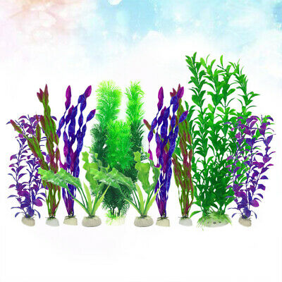 10Pcs Artificial Plants Durable Plastic Aquatic Plant For Fish Tank Aquarium • 9.49£