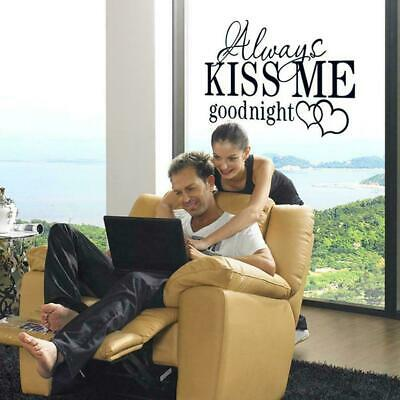 ALWAYS KISS ME GOODNIGHT LOVE Quotes Wall Stickers Bedroom Removable Decals Best • 2.25£