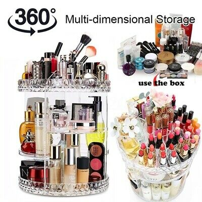360° Degree Rotating Cosmetic Makeup Organiser Box Storage Spinning Jewelry Case • 8.58£