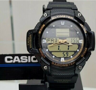 Casio Mens Altimeter Barometer Thermometer Dual World Time Watch SGW-400H (c15 • 59.99£