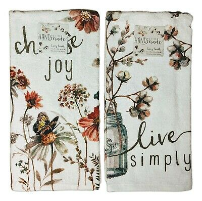 £11.57 • Buy Set Of 2 CHOOSE JOY & LIVE SIMPLY Terry Kitchen Towels By Kay Dee Designs