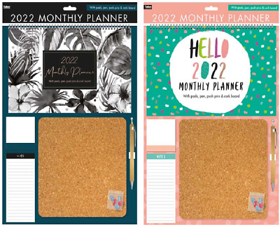2021 Large Wall Calendar Monthly Planner Family Organiser With Pen & Cork Board  • 8.99£
