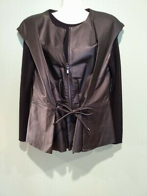 $ CDN75.64 • Buy W By Worth Black Leather Zip Up And Tie Waist Vest, Size 12