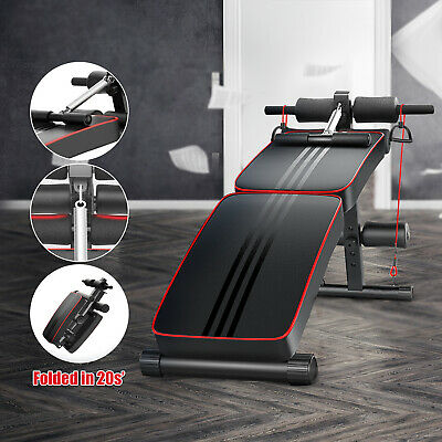 Sit Up Bench Ab Abdominal Exercise Gym Crunch Machine Board Foldable Roller + • 40.98£