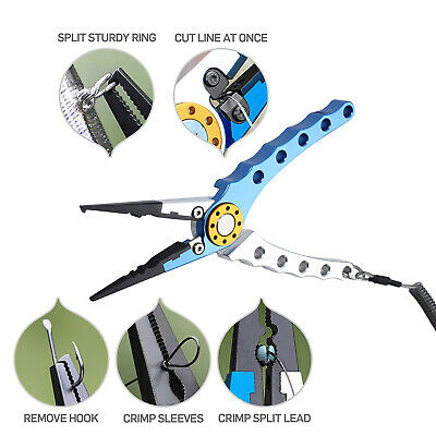 AU27.80 • Buy Aluminum Fishing Pliers Braid Line Cutter Hook Remover Tackle Split Tool + Pouch
