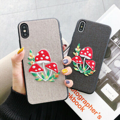 AU5.97 • Buy Cute Embroidery Mushroom Phone Case For IPhone 11 Pro XS Max 6 6s 7 8 Plus X XR
