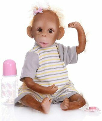 Cutie Monkey Dolls Reborn 16in Weighted Body Reborn Baby Dolls Realistic Looking • 59.99£