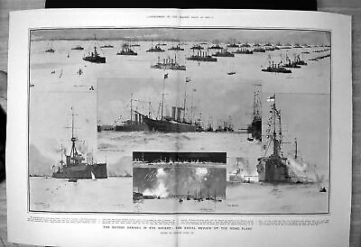 Old British Armada Solent Royal Review Home Fleet Passing Lines 1907 20th • 29£