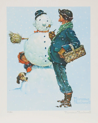 $ CDN1093.10 • Buy Norman Rockwell, Snowman, Lithograph, Facsimile Signed