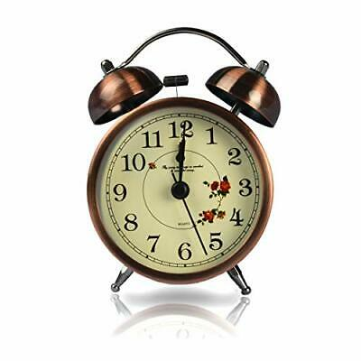Retro Bedside Alarm Clock Non Ticking Battery Powered Vintage Twin Bell • 13.53£