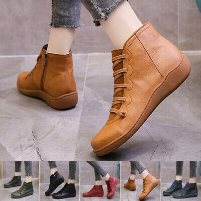 Women Arch Support Zipper Ankle Boots Ladies Lace Up Casual Flat Comfort Shoes • 20.32£