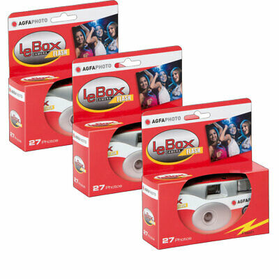 3 X AgfaPhoto LeBox 400 Disposable Camera With Flash (27 Exposures) • 28.96£