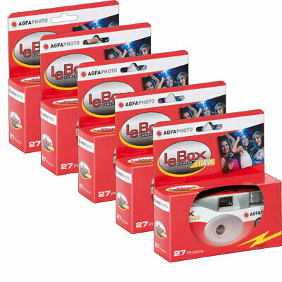 5 X AgfaPhoto LeBox 400 Disposable Camera With Flash (27 Exposures) • 43.96£