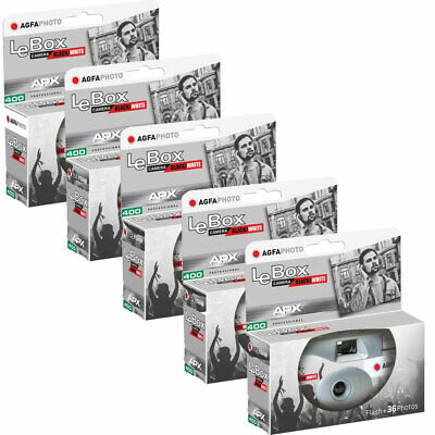 5 X AgfaPhoto LeBox 400 B&W Disposable Camera With Flash (36 Exp) • 45.95£
