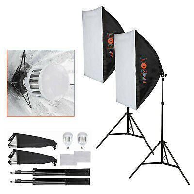 2 LED Softbox Lighting Kit | Portable Photo Video Studio Lights & Reflector • 74.95£