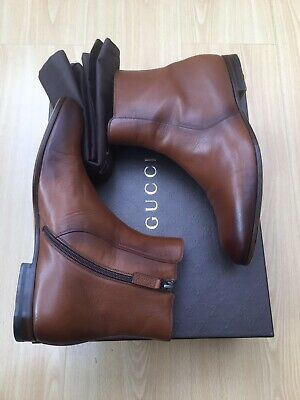 Gucci Mens Boots Tan Brown Leather Ankle Chelsea Uk 7 41 Shaded Script • 359£