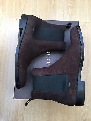 New Gucci Mens Boots Brown Leather Ankle Chelsea Uk 10.5 44.5 • 419£