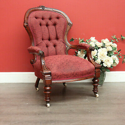AU575 • Buy Antique English Button Back Grandfather Chair, English Walnut Bed Room Armchair