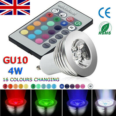 12pcs GU10 4W 16 Color Changing RGB Dimmable LED Light Bulbs Lamp Spot+RC Remote • 10.98£
