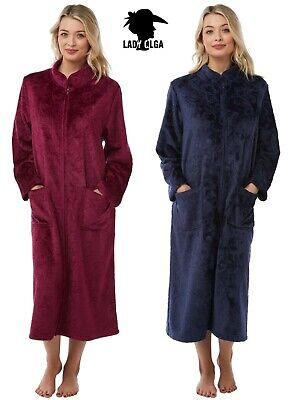 Warm Embossed Zip Front Dressing Gown By Lady Olga Sizes 10-24 Soft Feel Fleece  • 21.99£