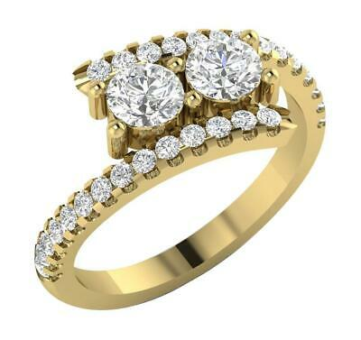 £500.99 • Buy Forever Us 2 Stone Solitaire Ring I1 G 1.27 Ct Natural Diamond 14K Gold RS 5-9