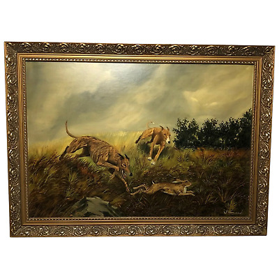 Fine Art 20th Century Oil Painting Hunting Dogs Chasing Hare Signed W Hobson • 1,000£