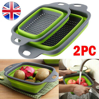 2CPS Foldable Wash Collapsible Colander Drain Basket Kitchen Fruit Food Strainer • 7.90£