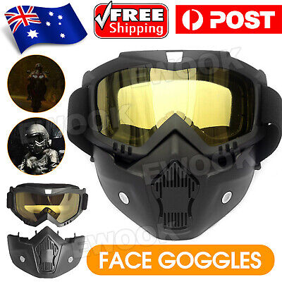 AU15.95 • Buy Full Face Paintball Airsoft Mask Motorcycle Goggle Tactical Detachable Face Mask
