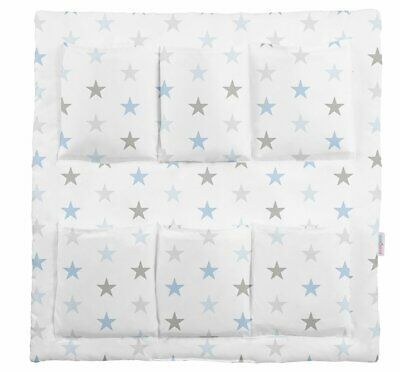 COT TIDY ORGANISER BED NURSERY HANGING STORAGE 6 POCKETS Grey Blue Stars • 13.99£