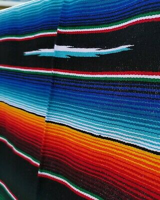 Authentic LG Mexican Serape Blanket Cotton Mix Picnic Throw Hot Rod BLACK • 42£