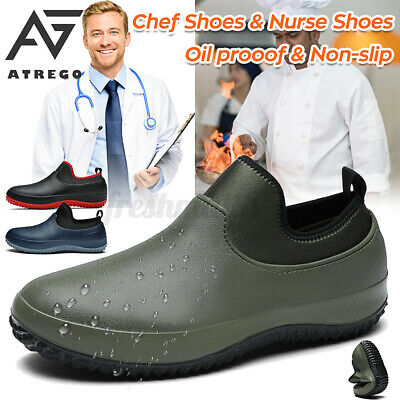 £18.53 • Buy AtreGo Men Chef Shoes Safety Work Nonslip Oil & Water Proof For Kitchen Car Wash