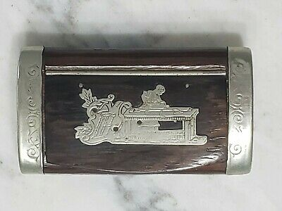 £36.21 • Buy Antique French Wooden Snuff Box Carpentry Embossed W/ Silver Ends