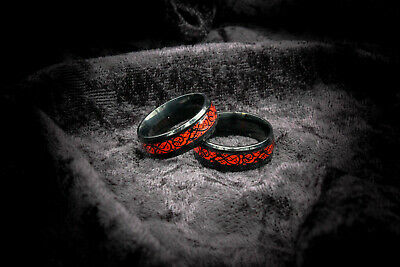 $18.99 • Buy 8MM Mens Ceramic Black Ring With Red Dragon Inlay Design