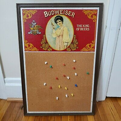$ CDN30.33 • Buy Vintage Budweiser King Of Beers  Wall Sign Push Pins Man Cave 27 X 15 Inches