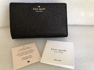 $ CDN105.44 • Buy Kate Spade Black Joeley Glitter Medium Bifold WLRU5762 Wallet