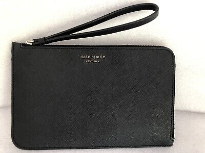 $ CDN52.71 • Buy KATE SPADE New York Cameron Medium L-Zip Leather Wristlet Pouch Wallet Black