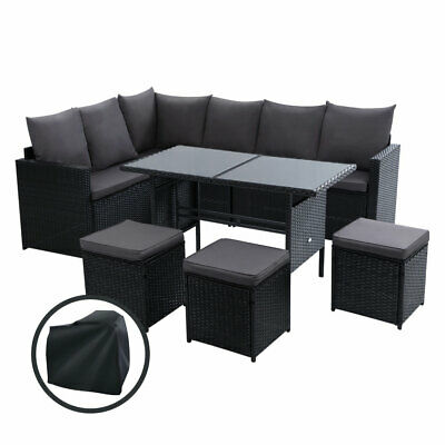 AU951 • Buy Gardeon Outdoor Furniture Dining Patio Setting With Cover