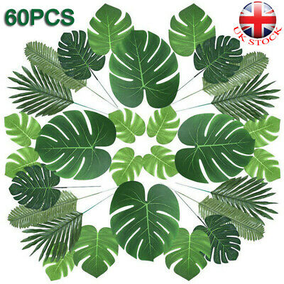 60X Tropical Artificial Palm Leaves Hawaiian Luau Jungle Beach Theme Party Decor • 12.33£