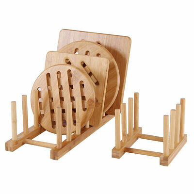 Bamboo Wooden Dish Rack Plate Rack Stand Pot Lid Holder Kitchen Cabinet • 6.09£