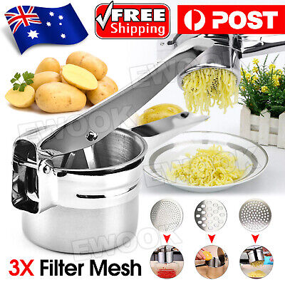AU17.95 • Buy Potato Ricer Masher Fruit Press With 3 Discs Professional All Stainless Steel AU