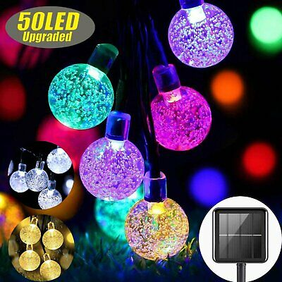 50 LED Outdoor Solar Fairy String Lights Crystal Ball Bulb Patio Garden Lamp • 8.90£