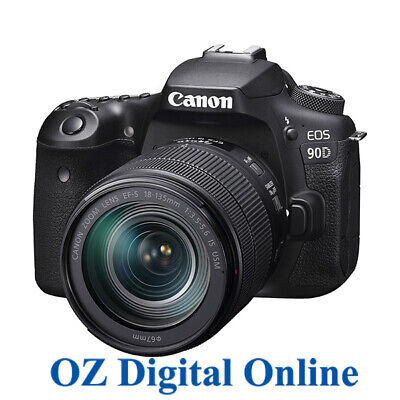 AU1839 • Buy NEW Canon EOS 90D +18-135 USM Kit 32.2MP Wifi 4K Video DSLR Camera 1 Year Au Wty