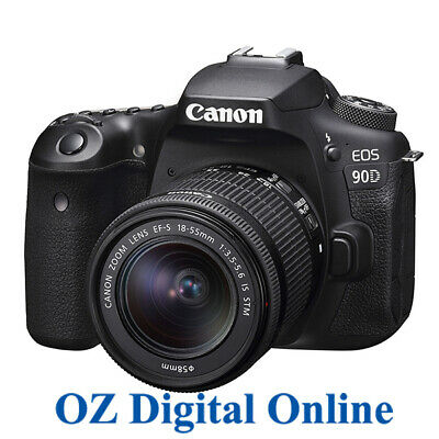 AU1569 • Buy NEW Canon EOS 90D +18-55 STM Kit 32.2MP Wifi 4K Video DSLR Camera 1 Year Au Wty