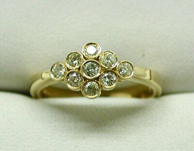 Beautiful 18 Carat Gold And Canary Lemon Coloured Diamond Cluster Ring Size N • 269.50£