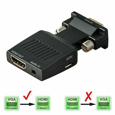VGA INPUT To HDMI OUTPUT Adapter Video Audio Converter Cable 1080P For TV PC DVD • 4.89£