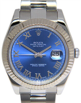 $ CDN13934.02 • Buy Rolex Datejust II Steel/18k White Gold Blue Roman Dial Mens 41mm Watch 116334