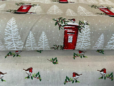 'Traditional Christmas' 100% Cotton Fabric By 1/4 Metre* Robin/Post Box/Letter • 0.99£